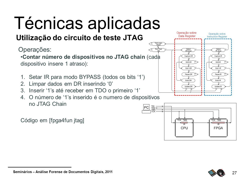 Seminários – Análise Forense de Documentos Digitais, 2011 27 Técnicas aplicadas Utilização do circuito de teste JTAG Operações: Operação sobre Data Re