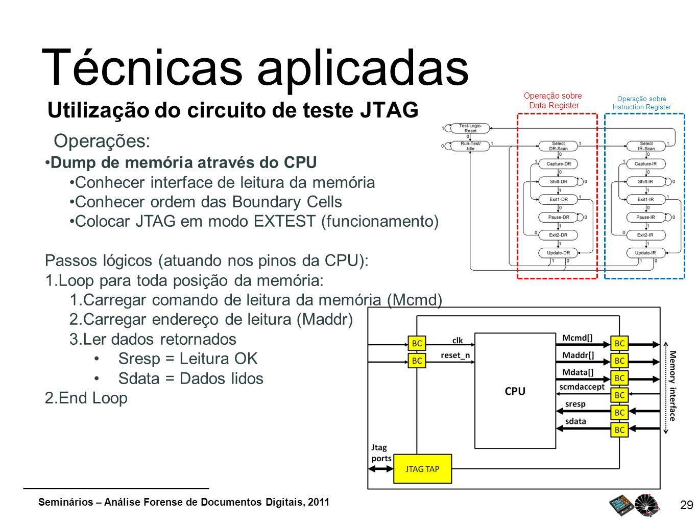 Seminários – Análise Forense de Documentos Digitais, 2011 29 Técnicas aplicadas Utilização do circuito de teste JTAG Operações: Dump de memória atravé