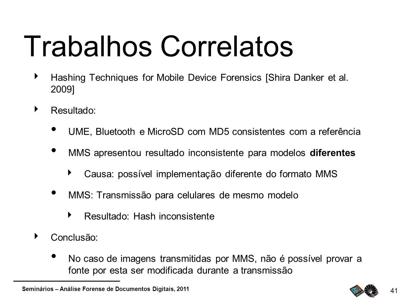 Seminários – Análise Forense de Documentos Digitais, 2011 41 Trabalhos Correlatos Hashing Techniques for Mobile Device Forensics [Shira Danker et al.