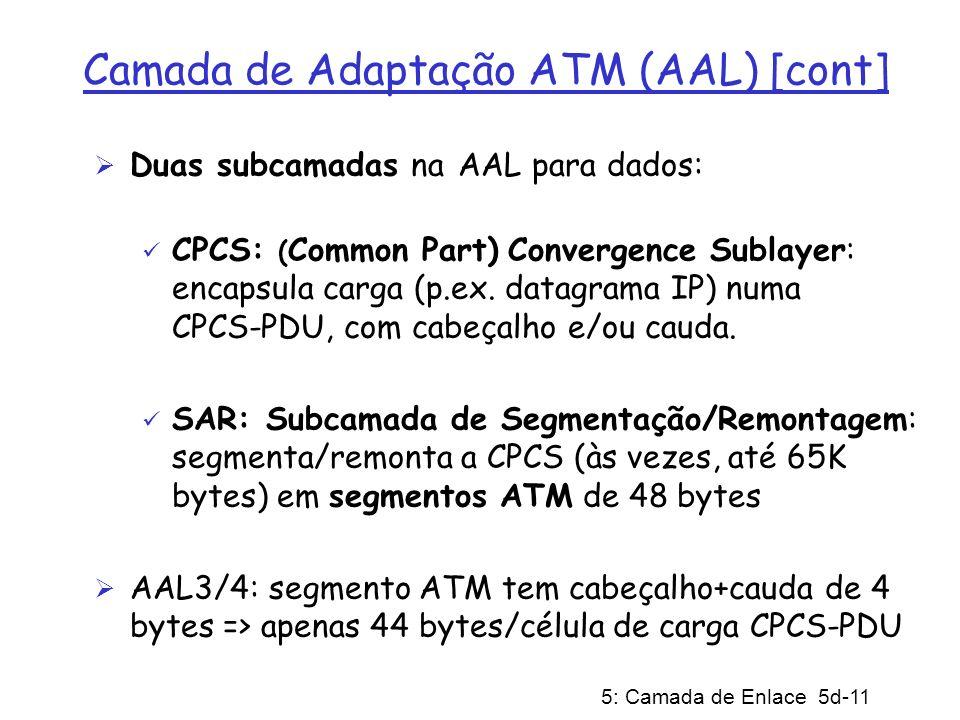 5: Camada de Enlace 5d-11 Camada de Adaptação ATM (AAL) [cont] Duas subcamadas na AAL para dados: CPCS: ( Common Part) Convergence Sublayer: encapsula