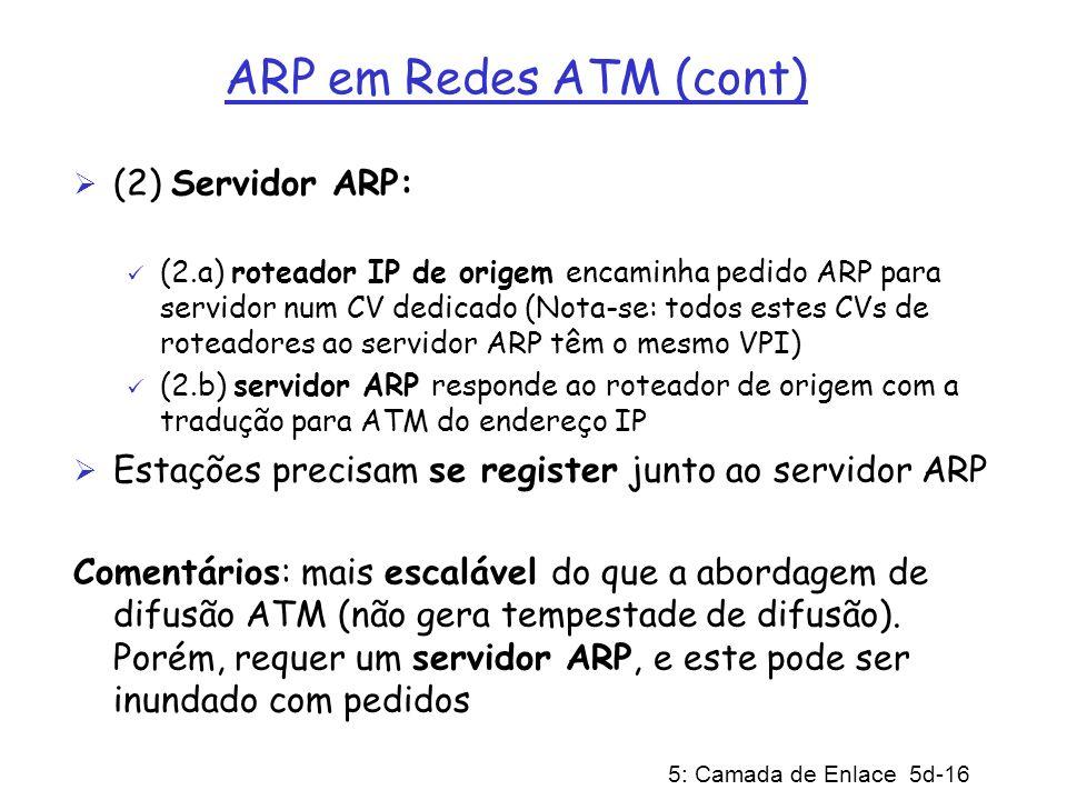 5: Camada de Enlace 5d-16 ARP em Redes ATM (cont) (2) Servidor ARP: (2.a) roteador IP de origem encaminha pedido ARP para servidor num CV dedicado (No