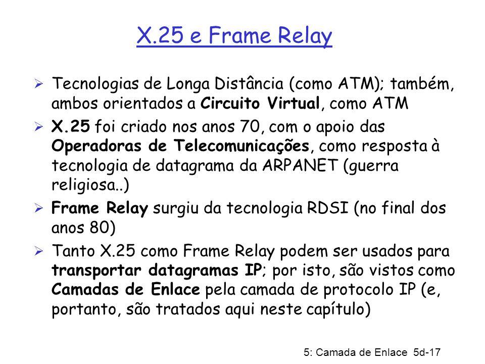 5: Camada de Enlace 5d-17 X.25 e Frame Relay Tecnologias de Longa Distância (como ATM); também, ambos orientados a Circuito Virtual, como ATM X.25 foi