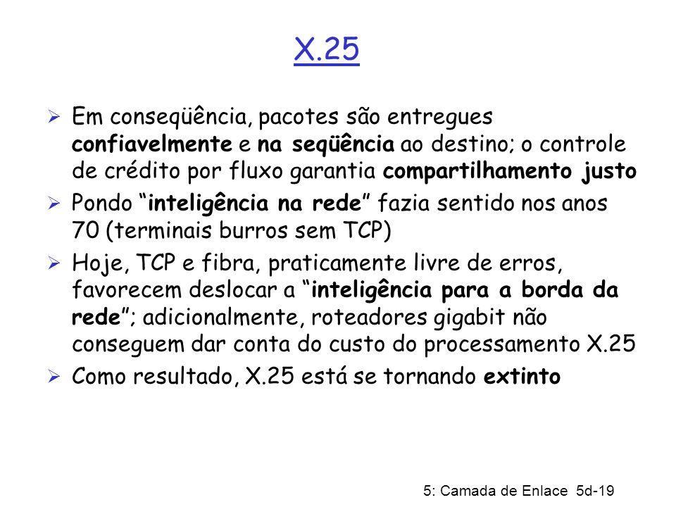 5: Camada de Enlace 5d-19 X.25 Em conseqüência, pacotes são entregues confiavelmente e na seqüência ao destino; o controle de crédito por fluxo garant