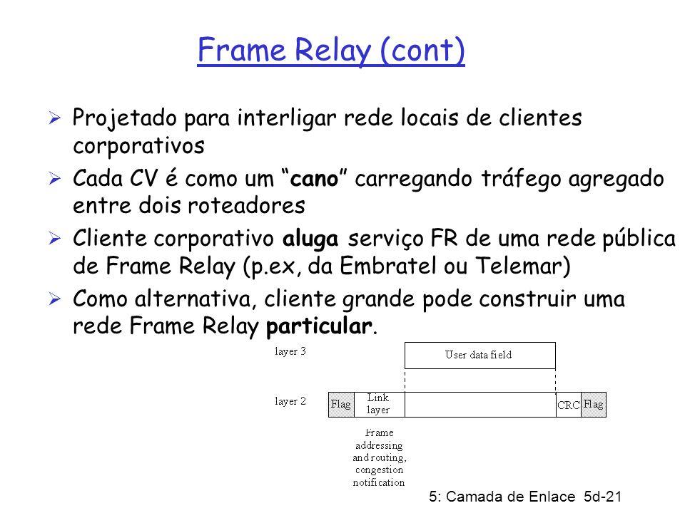 5: Camada de Enlace 5d-21 Frame Relay (cont) Projetado para interligar rede locais de clientes corporativos Cada CV é como um cano carregando tráfego