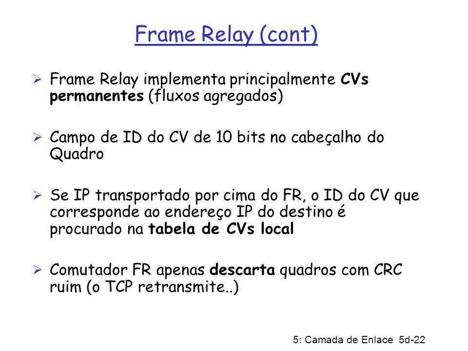 5: Camada de Enlace 5d-22 Frame Relay (cont) Frame Relay implementa principalmente CVs permanentes (fluxos agregados) Campo de ID do CV de 10 bits no