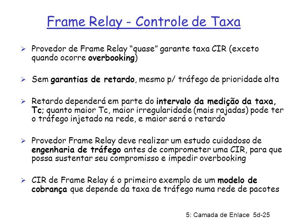 5: Camada de Enlace 5d-25 Frame Relay - Controle de Taxa Provedor de Frame Relay quase garante taxa CIR (exceto quando ocorre overbooking) Sem garanti