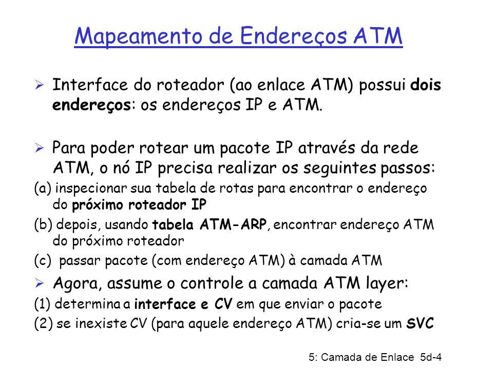 5: Camada de Enlace 5d-5 Camada Física de ATM Duas subcamadas Físicas: (a) Subcamada PMD (Physical Medium Dependent) (a.1) SONET/SDH: possui estrutura de quadros de transmissão (como um vasilhame carregando bits); sincronização a nível de bit; particionamento de banda (TDM); diversas taxas de transmissão: OC1 = 51.84 Mbps; OC3 = 155.52 Mbps; OC12 = 622.08 Mbps (a.2) TI/T3 e E1/E3: possui estrutura de quadros de transmissão (antiga hierarquia de telefonia - PDH): 1.5 Mbps/ 45 Mbps e 2 Mbps/ 34 Mbps (a.3) sem estrutura: apenas células (em uso/ociosa)