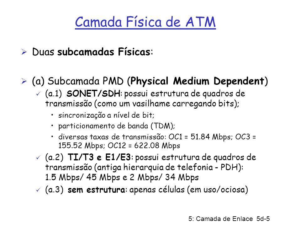 5: Camada de Enlace 5d-16 ARP em Redes ATM (cont) (2) Servidor ARP: (2.a) roteador IP de origem encaminha pedido ARP para servidor num CV dedicado (Nota-se: todos estes CVs de roteadores ao servidor ARP têm o mesmo VPI) (2.b) servidor ARP responde ao roteador de origem com a tradução para ATM do endereço IP Estações precisam se register junto ao servidor ARP Comentários: mais escalável do que a abordagem de difusão ATM (não gera tempestade de difusão).