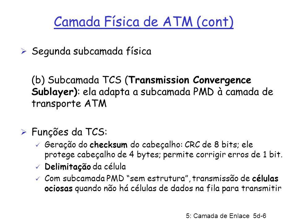 5: Camada de Enlace 5d-7 Camada ATM Camada ATM responsável para transportar células através da rede ATM Protocolo da camada ATM define formato do cabeçalho (5 bytes) da célula ATM; carga = 48 bytes; comprimento total da célula = 53 bytes
