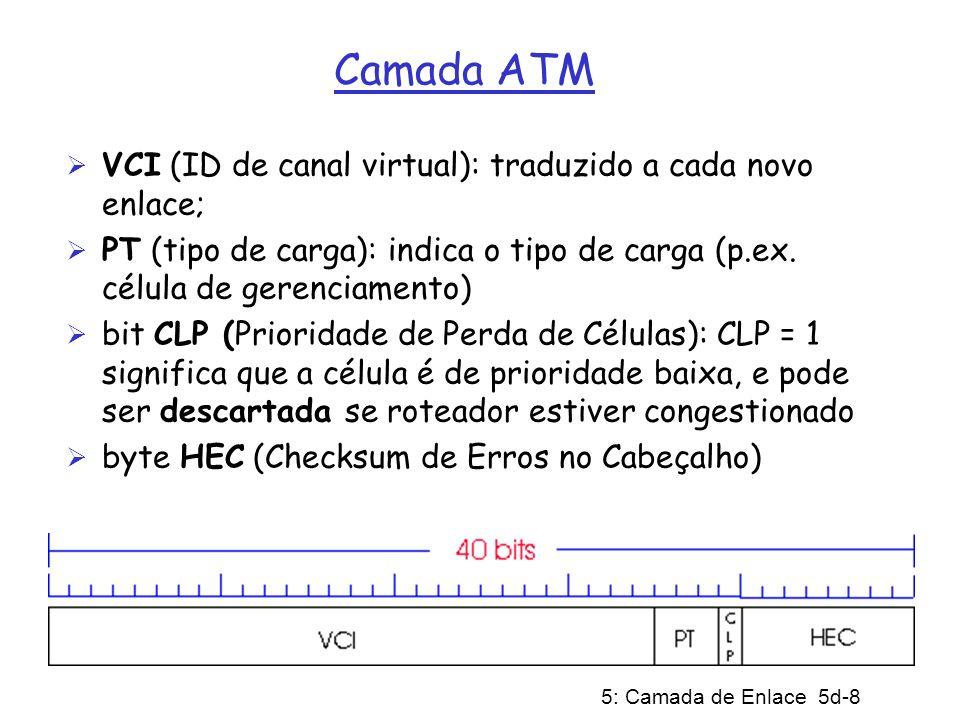 5: Camada de Enlace 5d-19 X.25 Em conseqüência, pacotes são entregues confiavelmente e na seqüência ao destino; o controle de crédito por fluxo garantia compartilhamento justo Pondo inteligência na rede fazia sentido nos anos 70 (terminais burros sem TCP) Hoje, TCP e fibra, praticamente livre de erros, favorecem deslocar a inteligência para a borda da rede; adicionalmente, roteadores gigabit não conseguem dar conta do custo do processamento X.25 Como resultado, X.25 está se tornando extinto