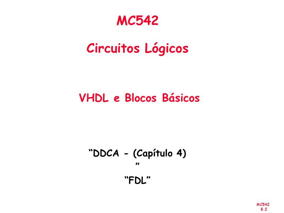 MC542 8.2 MC542 Circuitos Lógicos VHDL e Blocos Básicos DDCA - (Capítulo 4) FDL
