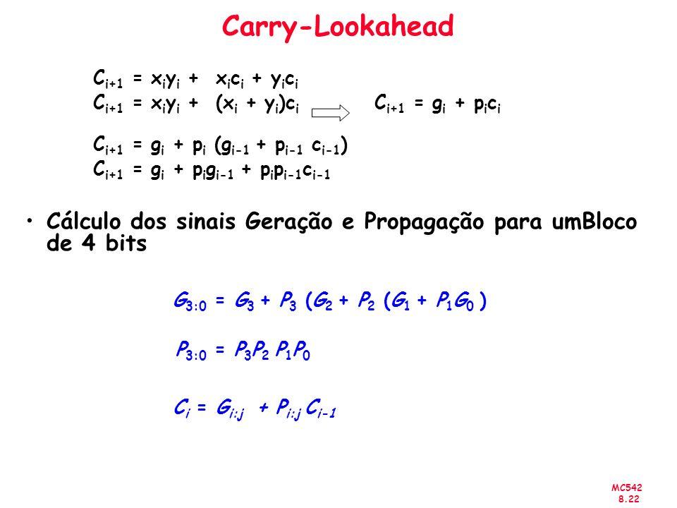 MC542 8.22 Carry-Lookahead C i+1 = x i y i + x i c i + y i c i C i+1 = x i y i + (x i + y i )c i C i+1 = g i + p i c i C i+1 = g i + p i (g i-1 + p i-1 c i-1 ) C i+1 = g i + p i g i-1 + p i p i-1 c i-1 Cálculo dos sinais Geração e Propagação para umBloco de 4 bits G 3:0 = G 3 + P 3 (G 2 + P 2 (G 1 + P 1 G 0 ) P 3:0 = P 3 P 2 P 1 P 0 C i = G i:j + P i:j C i-1