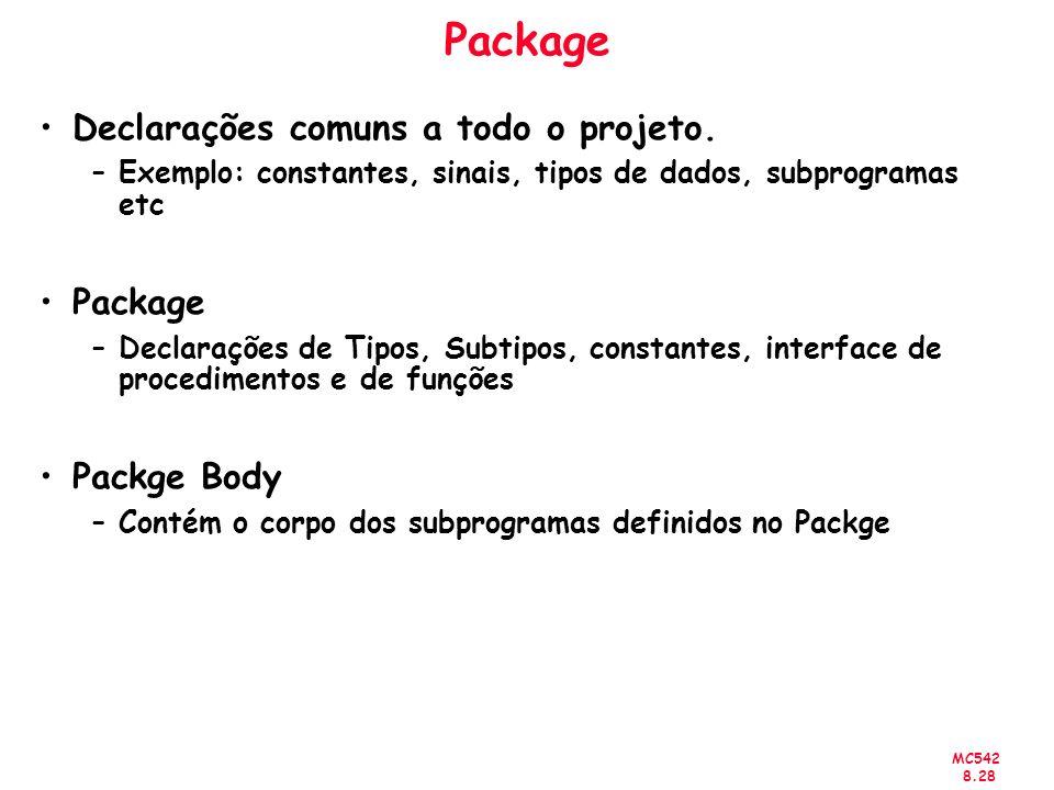 MC542 8.28 Package Declarações comuns a todo o projeto.