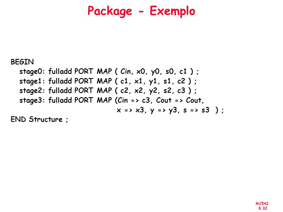 MC542 8.32 Package - Exemplo BEGIN stage0: fulladd PORT MAP ( Cin, x0, y0, s0, c1 ) ; stage1: fulladd PORT MAP ( c1, x1, y1, s1, c2 ) ; stage2: fulladd PORT MAP ( c2, x2, y2, s2, c3 ) ; stage3: fulladd PORT MAP (Cin => c3, Cout => Cout, x => x3, y => y3, s => s3 ) ; END Structure ;