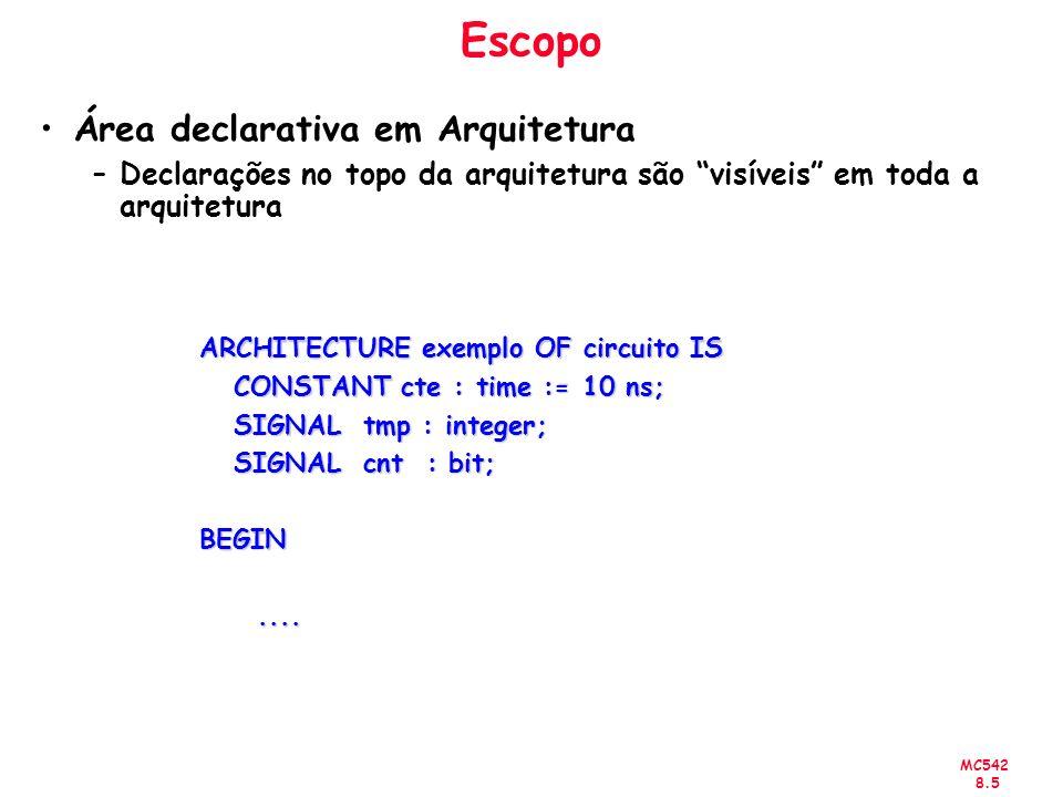 MC542 8.16 Configuração FOR nome_da_instancia|others|all: nome_componente -- component_specification USE ENTITY especificação_da_entidade; -- binding_indication END FOR; Exemplos: FOR inst51: xor_gate USE ENTITY lib_projeto.xor(arq_rtl); END FOR; FOR bit0, bit1: flipflop use entity work.edge_triggered_Dff(basic); end for; FOR others: flipflop use entity work.edge_triggered_Dff(rtl); end for;
