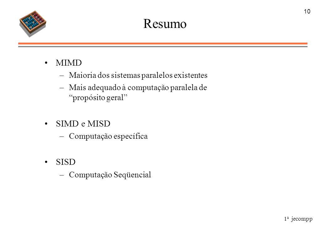 1 a jecompp 10 Resumo MIMD –Maioria dos sistemas paralelos existentes –Mais adequado à computação paralela de propósito geral SIMD e MISD –Computação