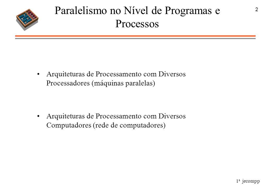 1 a jecompp 2 Paralelismo no Nível de Programas e Processos Arquiteturas de Processamento com Diversos Processadores (máquinas paralelas) Arquiteturas