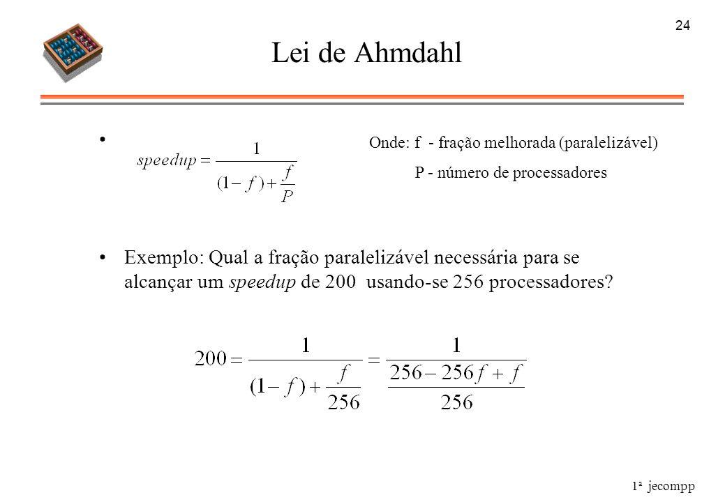 1 a jecompp 24 Lei de Ahmdahl Exemplo: Qual a fração paralelizável necessária para se alcançar um speedup de 200 usando-se 256 processadores? Onde: f