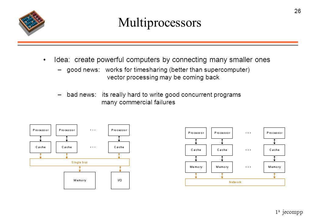 1 a jecompp 26 Multiprocessors Idea: create powerful computers by connecting many smaller ones –good news: works for timesharing (better than supercom