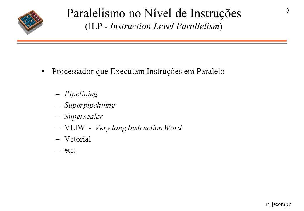 1 a jecompp 3 Paralelismo no Nível de Instruções (ILP - Instruction Level Parallelism) Processador que Executam Instruções em Paralelo –Pipelining –Su