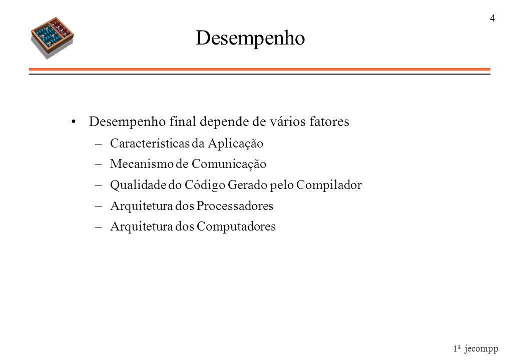 1 a jecompp 4 Desempenho Desempenho final depende de vários fatores –Características da Aplicação –Mecanismo de Comunicação –Qualidade do Código Gerad