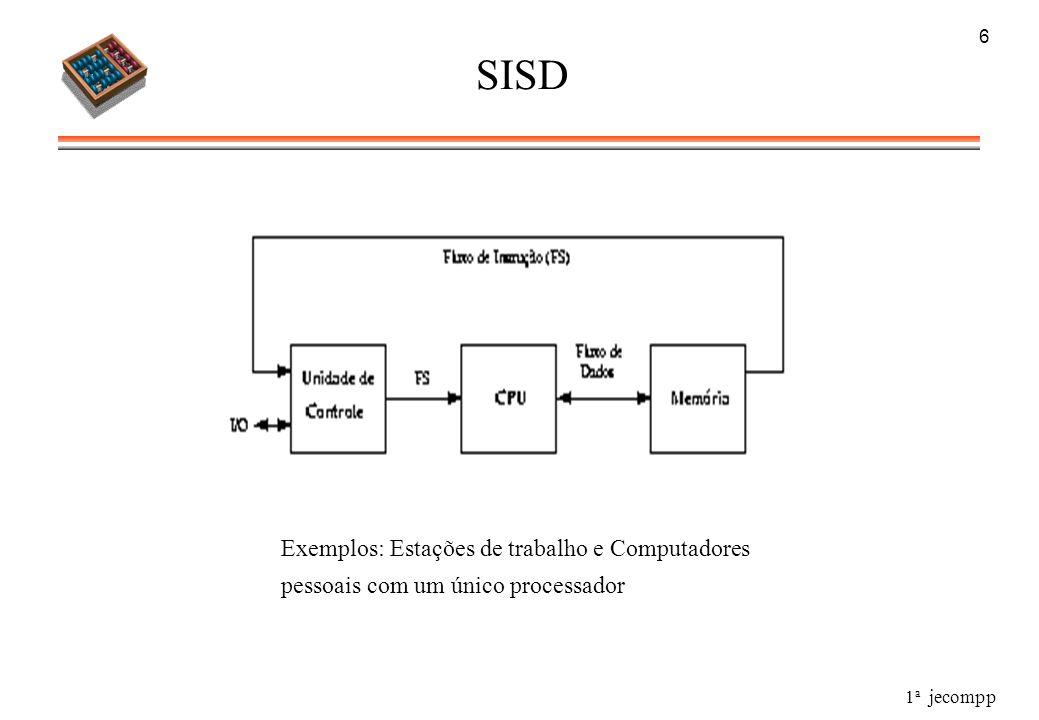 1 a jecompp 6 SISD Exemplos: Estações de trabalho e Computadores pessoais com um único processador
