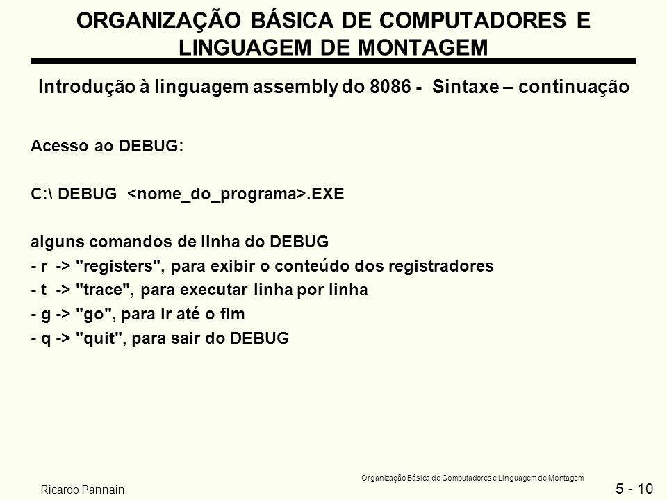 5 - 10 Organização Básica de Computadores e Linguagem de Montagem Ricardo Pannain ORGANIZAÇÃO BÁSICA DE COMPUTADORES E LINGUAGEM DE MONTAGEM Introduçã