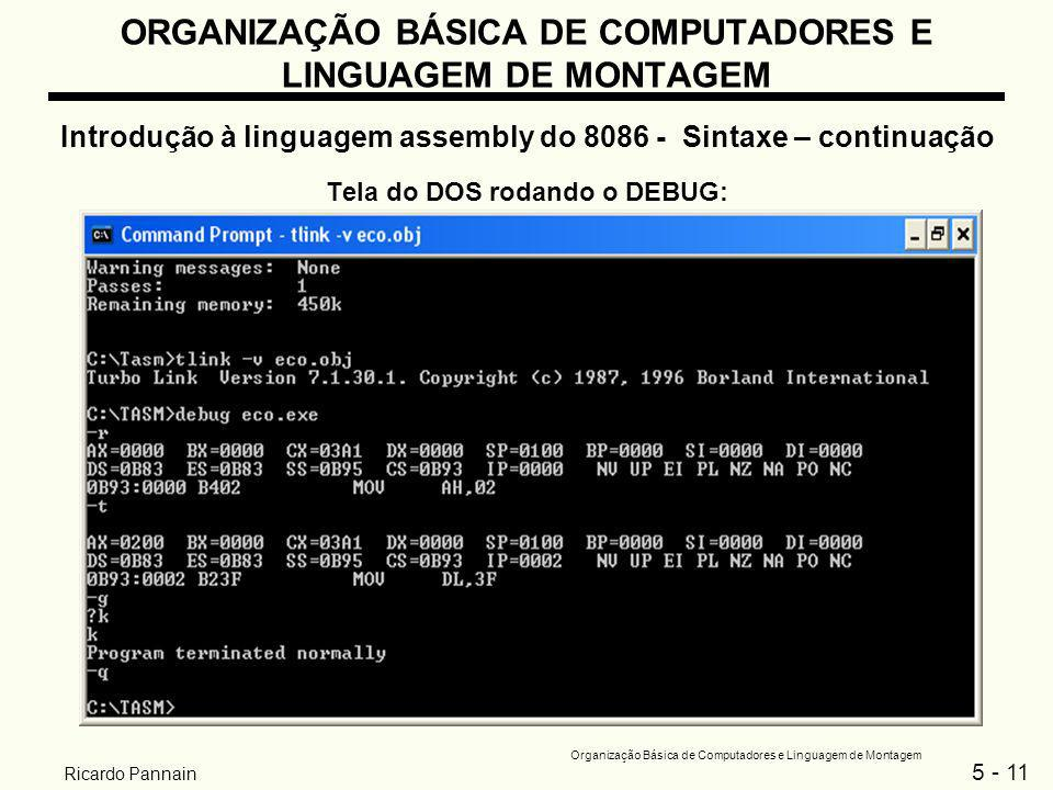 5 - 11 Organização Básica de Computadores e Linguagem de Montagem Ricardo Pannain ORGANIZAÇÃO BÁSICA DE COMPUTADORES E LINGUAGEM DE MONTAGEM Introduçã