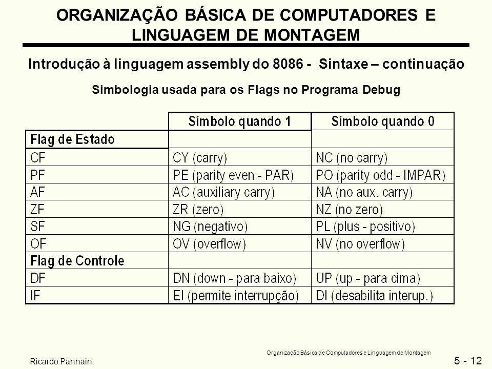 5 - 12 Organização Básica de Computadores e Linguagem de Montagem Ricardo Pannain ORGANIZAÇÃO BÁSICA DE COMPUTADORES E LINGUAGEM DE MONTAGEM Introduçã