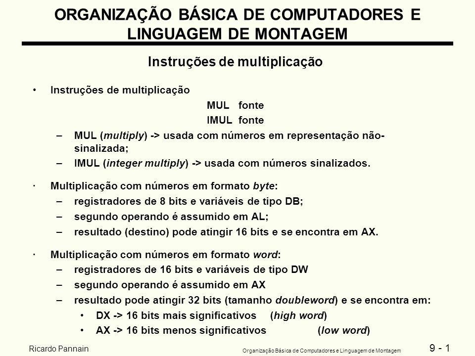 9 - 1 Organização Básica de Computadores e Linguagem de Montagem Ricardo Pannain ORGANIZAÇÃO BÁSICA DE COMPUTADORES E LINGUAGEM DE MONTAGEM Instruções