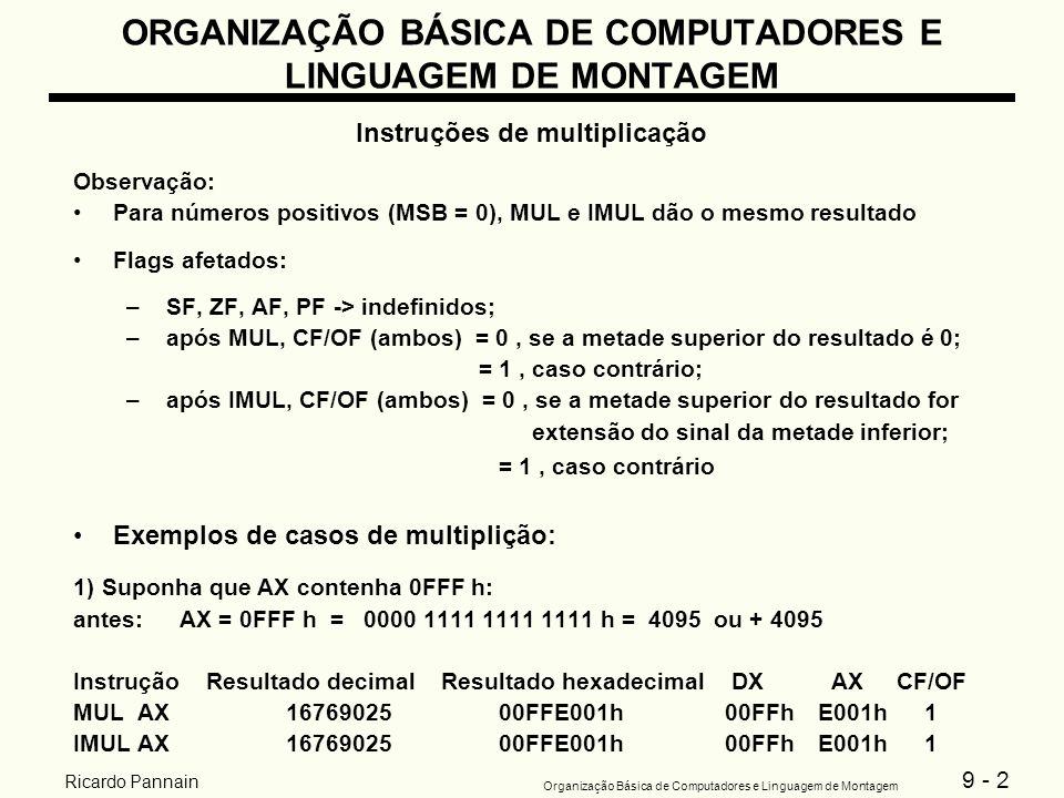 9 - 2 Organização Básica de Computadores e Linguagem de Montagem Ricardo Pannain ORGANIZAÇÃO BÁSICA DE COMPUTADORES E LINGUAGEM DE MONTAGEM Instruções