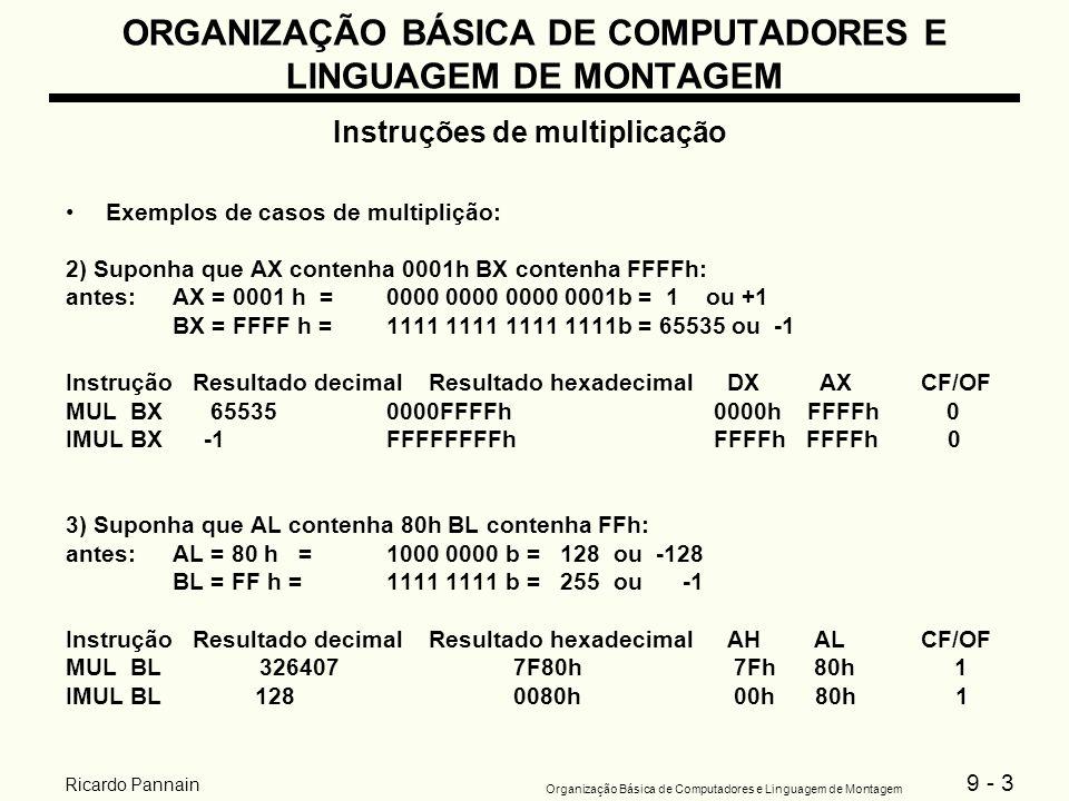 9 - 3 Organização Básica de Computadores e Linguagem de Montagem Ricardo Pannain ORGANIZAÇÃO BÁSICA DE COMPUTADORES E LINGUAGEM DE MONTAGEM Instruções