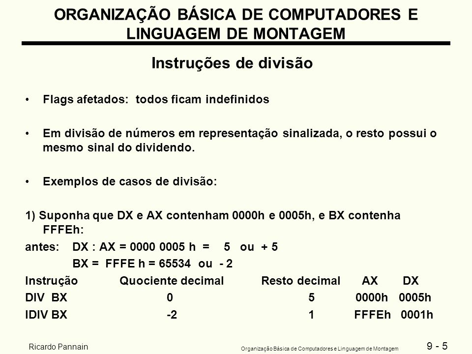 9 - 5 Organização Básica de Computadores e Linguagem de Montagem Ricardo Pannain ORGANIZAÇÃO BÁSICA DE COMPUTADORES E LINGUAGEM DE MONTAGEM Instruções