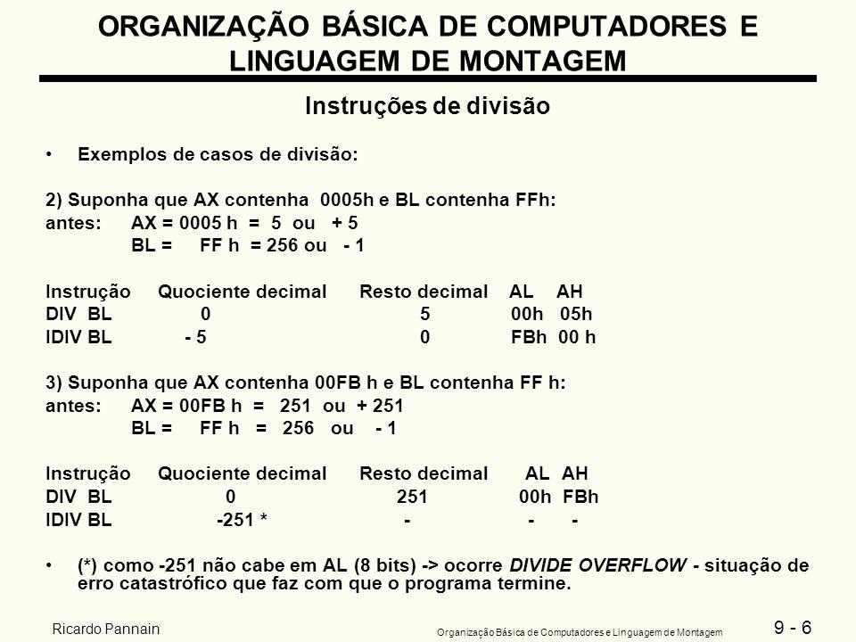 9 - 6 Organização Básica de Computadores e Linguagem de Montagem Ricardo Pannain ORGANIZAÇÃO BÁSICA DE COMPUTADORES E LINGUAGEM DE MONTAGEM Instruções