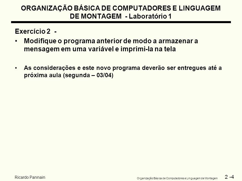 2 -4 Organização Básica de Computadores e Linguagem de Montagem Ricardo Pannain ORGANIZAÇÃO BÁSICA DE COMPUTADORES E LINGUAGEM DE MONTAGEM - Laboratór