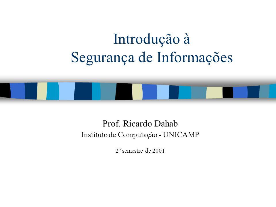 Introdução à Segurança de Informações Prof. Ricardo Dahab Instituto de Computação - UNICAMP 2º semestre de 2001