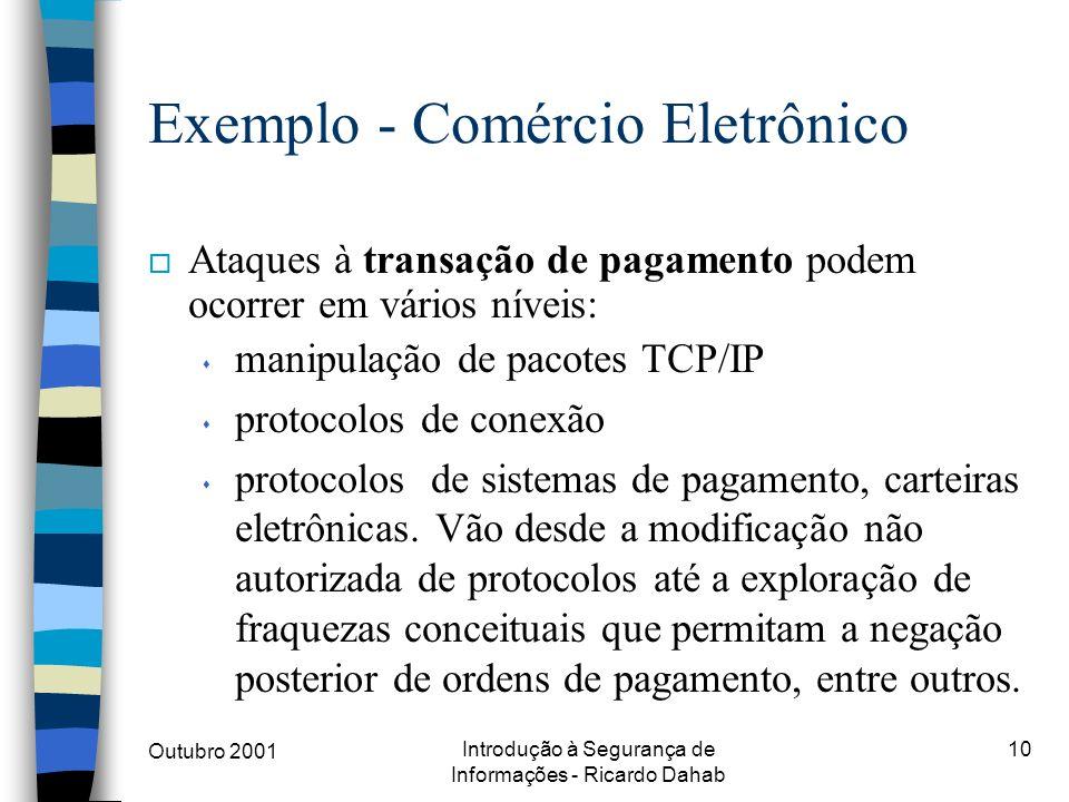 Outubro 2001 Introdução à Segurança de Informações - Ricardo Dahab 10 o Ataques à transação de pagamento podem ocorrer em vários níveis: s manipulação