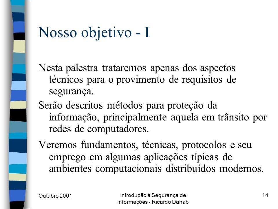 Outubro 2001 Introdução à Segurança de Informações - Ricardo Dahab 14 Nosso objetivo - I Nesta palestra trataremos apenas dos aspectos técnicos para o