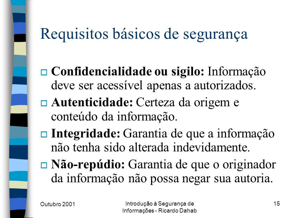 Outubro 2001 Introdução à Segurança de Informações - Ricardo Dahab 15 Requisitos básicos de segurança o Confidencialidade ou sigilo: Informação deve s