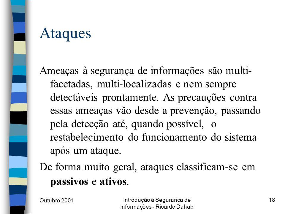 Outubro 2001 Introdução à Segurança de Informações - Ricardo Dahab 18 Ataques Ameaças à segurança de informações são multi- facetadas, multi-localizad