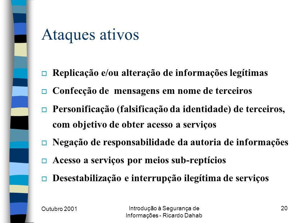 Outubro 2001 Introdução à Segurança de Informações - Ricardo Dahab 20 Ataques ativos o Replicação e/ou alteração de informações legítimas o Confecção