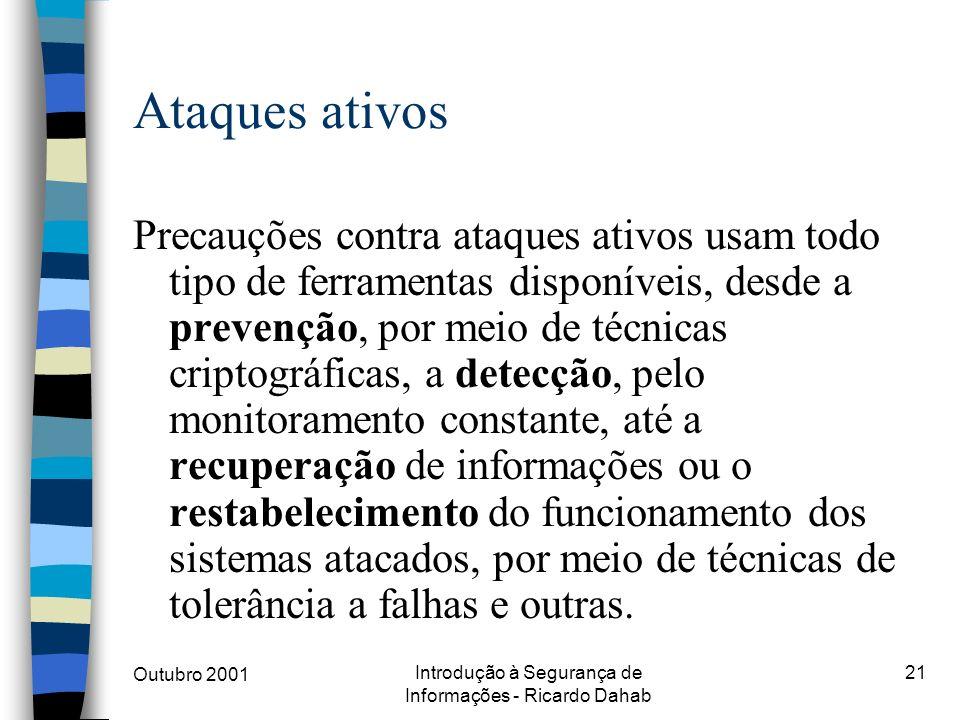 Outubro 2001 Introdução à Segurança de Informações - Ricardo Dahab 21 Ataques ativos Precauções contra ataques ativos usam todo tipo de ferramentas di