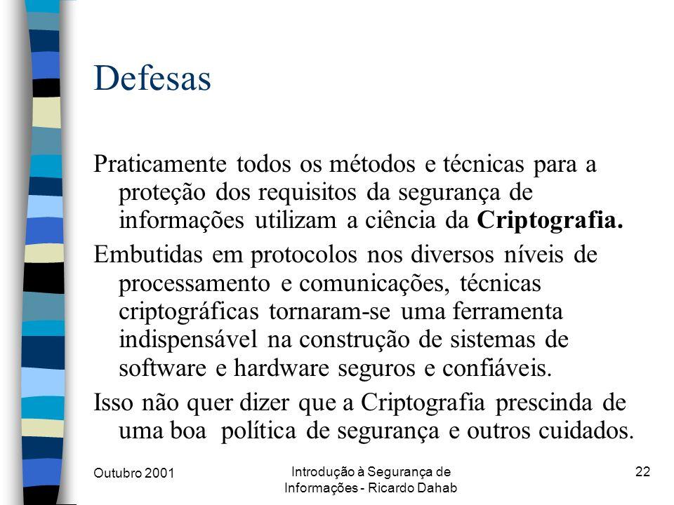 Outubro 2001 Introdução à Segurança de Informações - Ricardo Dahab 22 Defesas Praticamente todos os métodos e técnicas para a proteção dos requisitos
