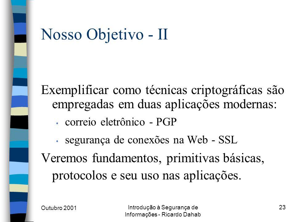 Outubro 2001 Introdução à Segurança de Informações - Ricardo Dahab 23 Nosso Objetivo - II Exemplificar como técnicas criptográficas são empregadas em