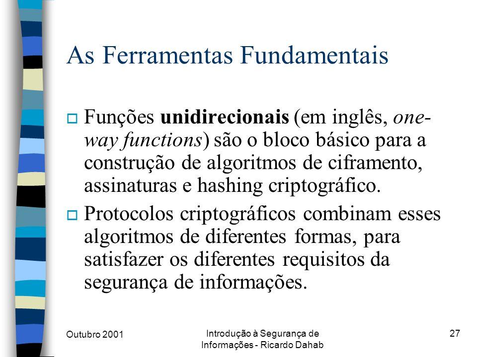 Outubro 2001 Introdução à Segurança de Informações - Ricardo Dahab 27 As Ferramentas Fundamentais o Funções unidirecionais (em inglês, one- way functi