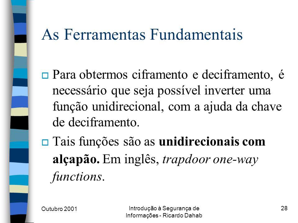 Outubro 2001 Introdução à Segurança de Informações - Ricardo Dahab 28 As Ferramentas Fundamentais o Para obtermos ciframento e deciframento, é necessá