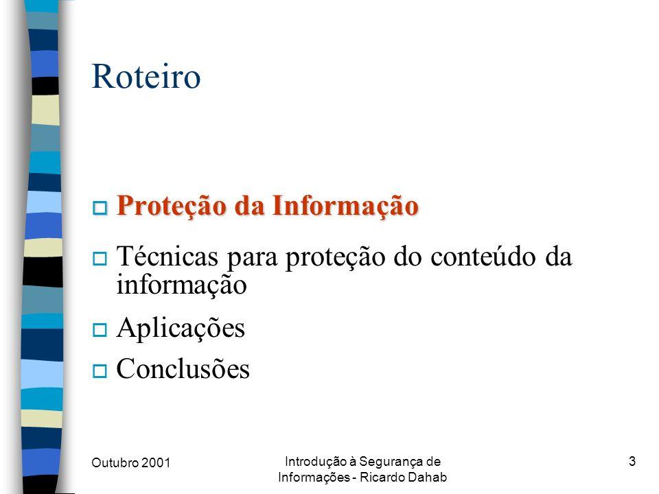 Outubro 2001 Introdução à Segurança de Informações - Ricardo Dahab 3 Roteiro o Proteção da Informação o Técnicas para proteção do conteúdo da informaç
