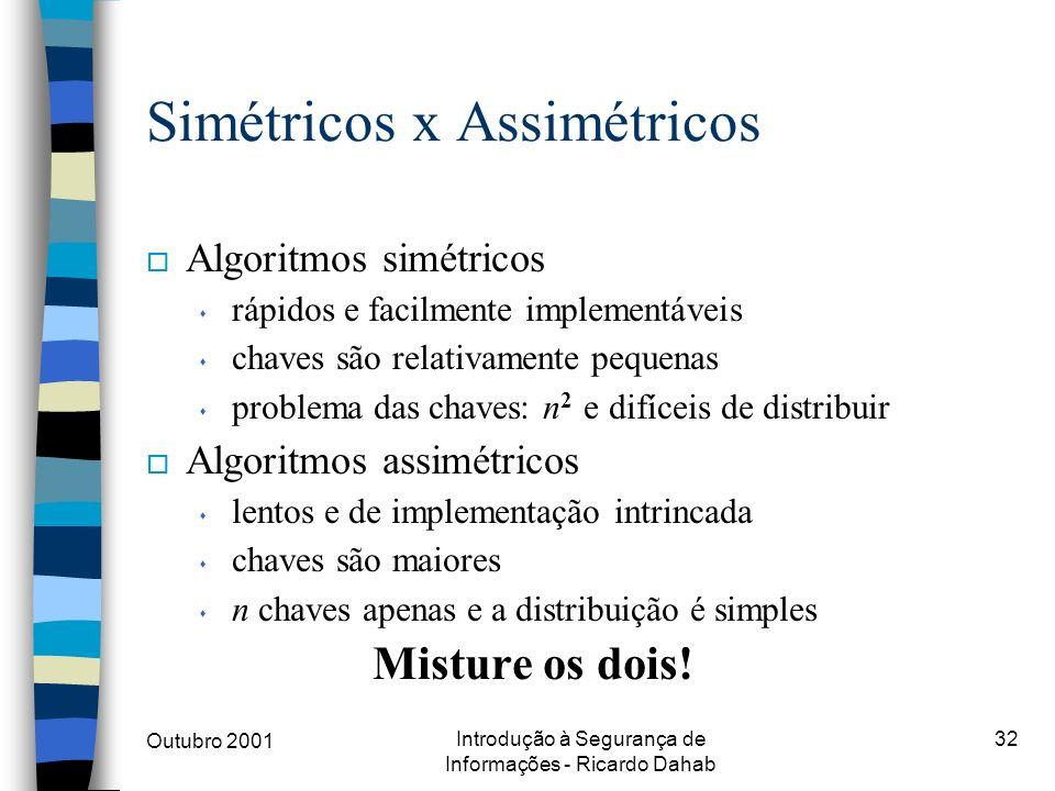 Outubro 2001 Introdução à Segurança de Informações - Ricardo Dahab 32 Simétricos x Assimétricos o Algoritmos simétricos s rápidos e facilmente impleme