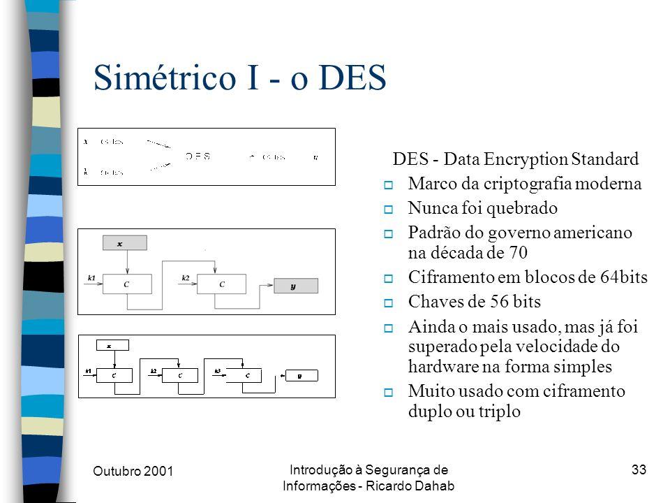 Outubro 2001 Introdução à Segurança de Informações - Ricardo Dahab 33 Simétrico I - o DES DES - Data Encryption Standard o Marco da criptografia moder