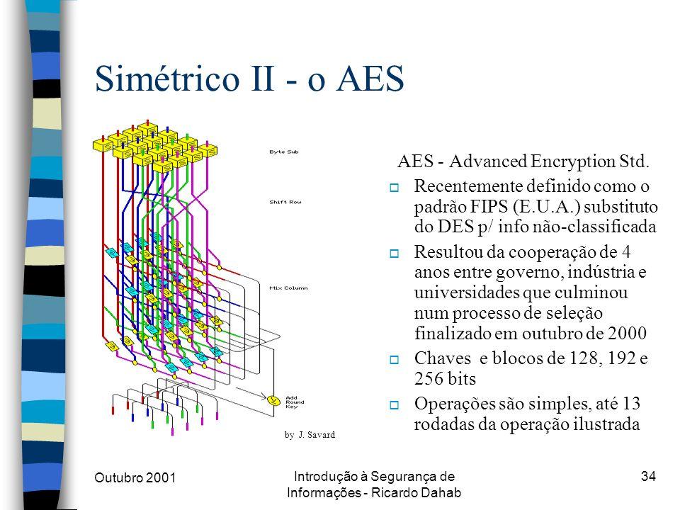 Outubro 2001 Introdução à Segurança de Informações - Ricardo Dahab 34 Simétrico II - o AES AES - Advanced Encryption Std. o Recentemente definido como